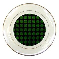 Circles1 Black Marble & Green Leather Porcelain Plates