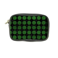 Circles1 Black Marble & Green Leather Coin Purse