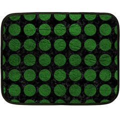 Circles1 Black Marble & Green Leather Double Sided Fleece Blanket (mini)