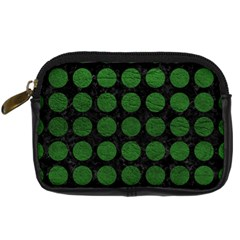 Circles1 Black Marble & Green Leather Digital Camera Cases