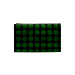 Circles1 Black Marble & Green Leather Cosmetic Bag (small)