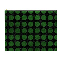 Circles1 Black Marble & Green Leather Cosmetic Bag (xl)
