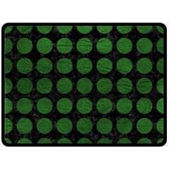 Circles1 Black Marble & Green Leather Fleece Blanket (large)