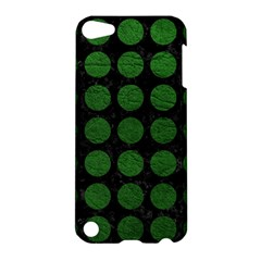 Circles1 Black Marble & Green Leather Apple Ipod Touch 5 Hardshell Case