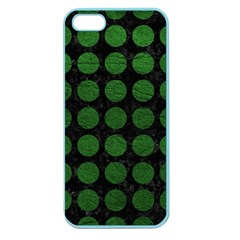 Circles1 Black Marble & Green Leather Apple Seamless Iphone 5 Case (color)