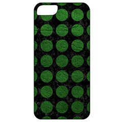 Circles1 Black Marble & Green Leather Apple Iphone 5 Classic Hardshell Case
