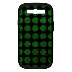Circles1 Black Marble & Green Leather Samsung Galaxy S Iii Hardshell Case (pc+silicone)