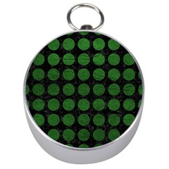 Circles1 Black Marble & Green Leather Silver Compasses