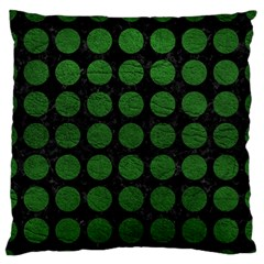 Circles1 Black Marble & Green Leather Large Flano Cushion Case (two Sides)