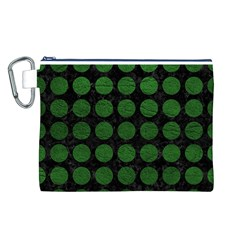 Circles1 Black Marble & Green Leather Canvas Cosmetic Bag (l)