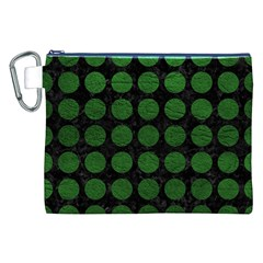 Circles1 Black Marble & Green Leather Canvas Cosmetic Bag (xxl)