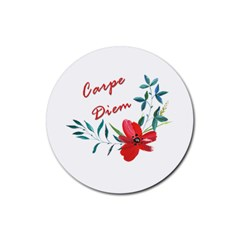 Carpe Diem  Rubber Round Coaster (4 Pack)