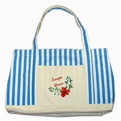 Carpe Diem  Striped Blue Tote Bag