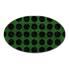 Circles1 Black Marble & Green Leather (r) Oval Magnet