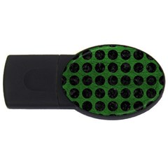 Circles1 Black Marble & Green Leather (r) Usb Flash Drive Oval (2 Gb)