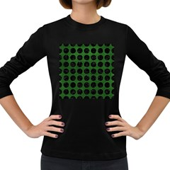 Circles1 Black Marble & Green Leather (r) Women s Long Sleeve Dark T Shirts