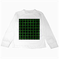 Circles1 Black Marble & Green Leather (r) Kids Long Sleeve T Shirts