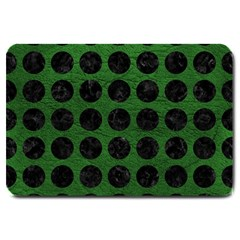 Circles1 Black Marble & Green Leather (r) Large Doormat