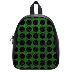 Circles1 Black Marble & Green Leather (r) School Bag (small)