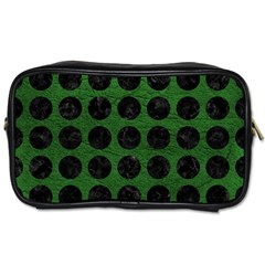 Circles1 Black Marble & Green Leather (r) Toiletries Bags