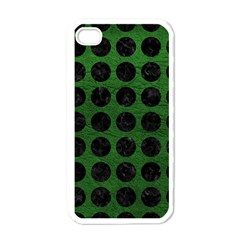 Circles1 Black Marble & Green Leather (r) Apple Iphone 4 Case (white)