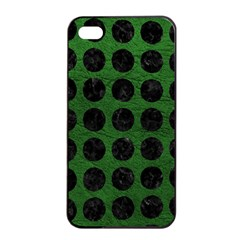 Circles1 Black Marble & Green Leather (r) Apple Iphone 4/4s Seamless Case (black)