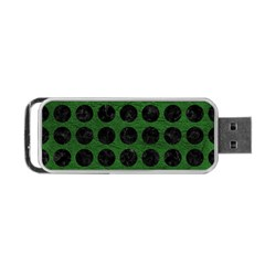 Circles1 Black Marble & Green Leather (r) Portable Usb Flash (one Side)