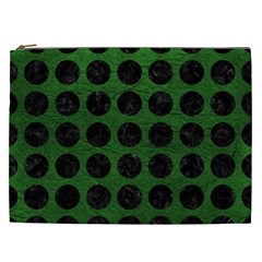 Circles1 Black Marble & Green Leather (r) Cosmetic Bag (xxl)