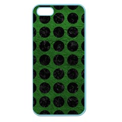 Circles1 Black Marble & Green Leather (r) Apple Seamless Iphone 5 Case (color)