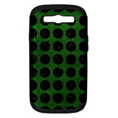 Circles1 Black Marble & Green Leather (r) Samsung Galaxy S Iii Hardshell Case (pc+silicone)