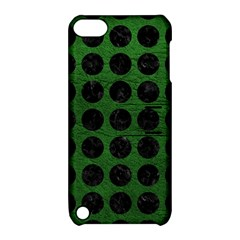 Circles1 Black Marble & Green Leather (r) Apple Ipod Touch 5 Hardshell Case With Stand