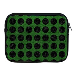 Circles1 Black Marble & Green Leather (r) Apple Ipad 2/3/4 Zipper Cases
