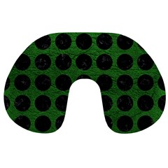 Circles1 Black Marble & Green Leather (r) Travel Neck Pillows