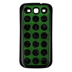 Circles1 Black Marble & Green Leather (r) Samsung Galaxy S3 Back Case (black)
