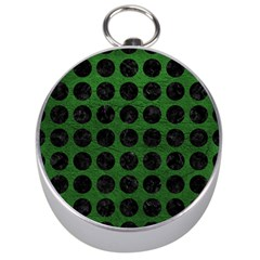 Circles1 Black Marble & Green Leather (r) Silver Compasses