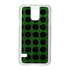 Circles1 Black Marble & Green Leather (r) Samsung Galaxy S5 Case (white)