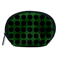 Circles1 Black Marble & Green Leather (r) Accessory Pouches (medium)