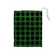 Circles1 Black Marble & Green Leather (r) Drawstring Pouches (medium)