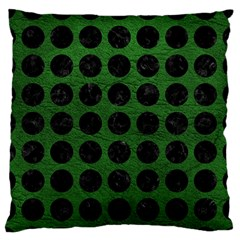 Circles1 Black Marble & Green Leather (r) Large Flano Cushion Case (two Sides)