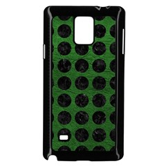 Circles1 Black Marble & Green Leather (r) Samsung Galaxy Note 4 Case (black)