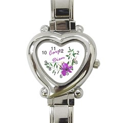 Carpe Diem  Heart Italian Charm Watch