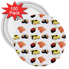 Sushi Pattern 3  Buttons (100 Pack)