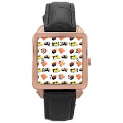 Sushi Pattern Rose Gold Leather Watch