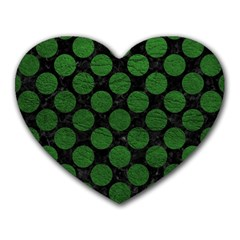Circles2 Black Marble & Green Leather Heart Mousepads