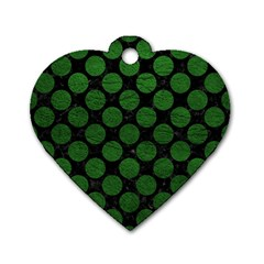 Circles2 Black Marble & Green Leather Dog Tag Heart (one Side)