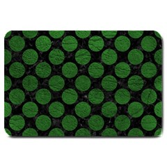 Circles2 Black Marble & Green Leather Large Doormat