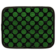 Circles2 Black Marble & Green Leather Netbook Case (large)