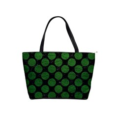 Circles2 Black Marble & Green Leather Shoulder Handbags