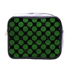 Circles2 Black Marble & Green Leather Mini Toiletries Bags