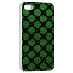Circles2 Black Marble & Green Leather Apple Iphone 4/4s Seamless Case (white)